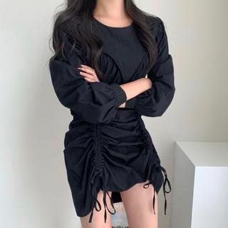 ZARA - 【予約商品】シャーリング ポップ ミニワンピース 韓国ファッション 秋服