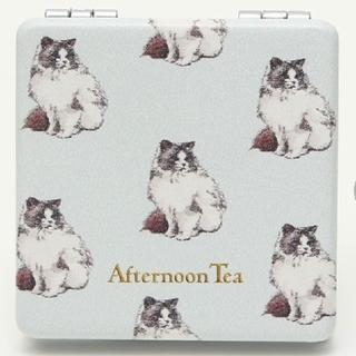 アフタヌーンティー(AfternoonTea)のAfternoon Tea キャット柄ミラー コンパクトミラー 猫 ネコ ブルー(ミラー)