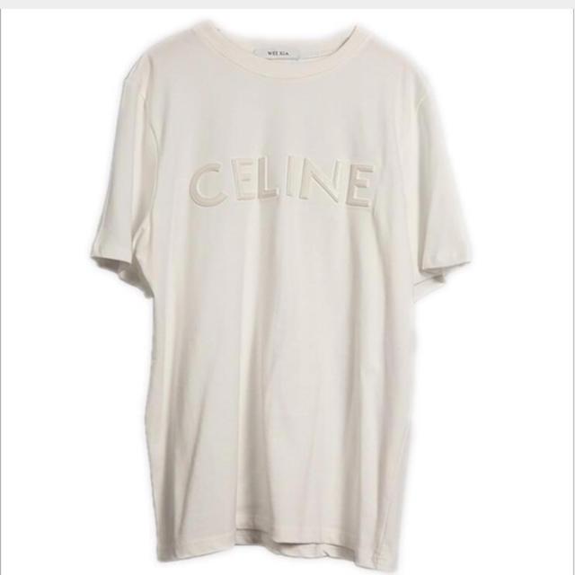 M  ホワイト 白 刺繍 Tシャツ 半袖 英字ロゴ CELINE セリーヌ メンズのトップス(Tシャツ/カットソー(半袖/袖なし))の商品写真