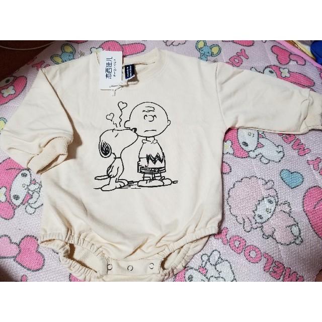babyGAP(ベビーギャップ)の新品 チャーリーブラウン 長袖 スエット ロンパース キッズ/ベビー/マタニティのベビー服(~85cm)(ロンパース)の商品写真