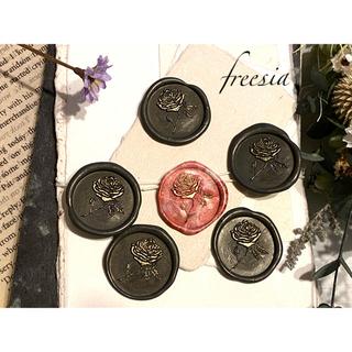 封蝋*antique rose*シーリングスタンプ*濃いグレーと赤系マーブル6枚(カード/レター/ラッピング)