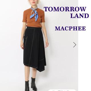 TOMORROWLAND - タグ付き新品 コットンナイロン アシンメトリーフレアスカート ネイビー