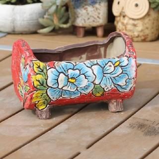 韓国鉢 red×blueFlower足付き鉢(プランター)