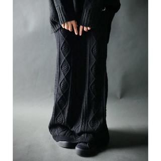 アンティカ(antiqua)の新品☆【antiqua】ケーブルニット ロング スカート ブラック【アンティカ】(ロングスカート)