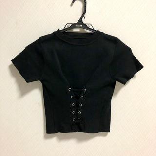 ゴゴシング(GOGOSING)のgogosing ゴゴシング クロップド ニット トップス 半袖 ブラック 韓国(ニット/セーター)