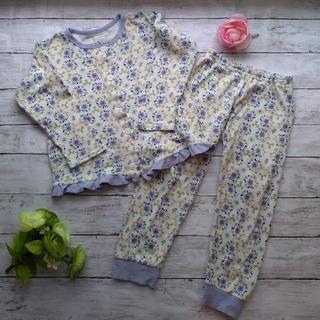 ampersand - アンパサンド♡長袖パジャマ上下セット♡110 女の子 花柄 前ボタン