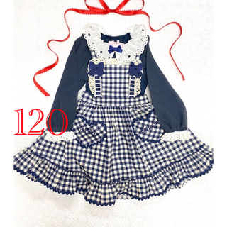 Shirley Temple - 新品 シャーリーテンプル 120 ギンガムジャンパースカート