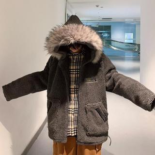 HARE - ハレ フード付きウールコート グレー ブラック