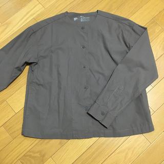 ムジルシリョウヒン(MUJI (無印良品))の無印良品 新疆綿洗いざらしピンオックスクルーネックシャツ(ノーカラージャケット)