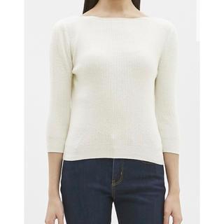 ジーユー(GU)のパイル地風ボートネック Tシャツ ホワイト、ブラック2品(Tシャツ/カットソー(七分/長袖))