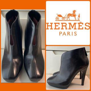 Hermes - エルメス ブラックレザー ブーツ