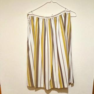 ストラ(Stola.)のstola プリッツスカート ストライプ 黄色 白 (ひざ丈スカート)