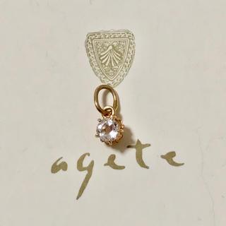 agete - アガット K10 一粒 チャーム ホワイトトパーズ  agete