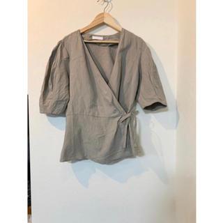 ロキエ(Lochie)の韓国 リネン ラップ ブラウス(シャツ/ブラウス(半袖/袖なし))