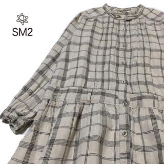 サマンサモスモス(SM2)のSM2 リネン チェック ワンピース M 羽織り サマンサモスモス(ロングワンピース/マキシワンピース)