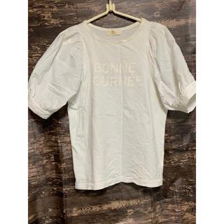 ダブルクローゼット(w closet)のwcloset  ᖴサイズ【美品】袖コンシャス パフスリーブTシャツ(Tシャツ(半袖/袖なし))