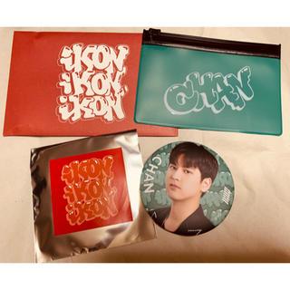 アイコン(iKON)のiKON チャヌ CHAN 缶バッジ&フラットポーチ 缶バッチ グッズ 未使用(アイドルグッズ)