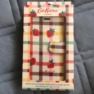 キャスキッドソン(Cath Kidston)のキャスキッドソン スマホケース 手帳型 いちご柄(iPhoneケース)