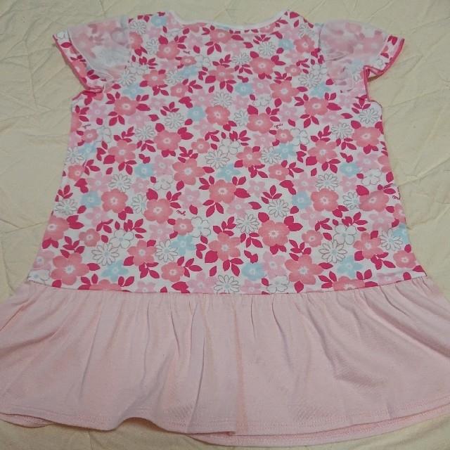 mikihouse(ミキハウス)のミキハウス  リーナちゃん♪フリル付き花柄半袖Tシャツ  120 キッズ/ベビー/マタニティのキッズ服女の子用(90cm~)(Tシャツ/カットソー)の商品写真