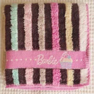 バービー(Barbie)の限定品★バービー タオルハンカチ ストライプ柄 Barbie かわいい コットン(ハンカチ)