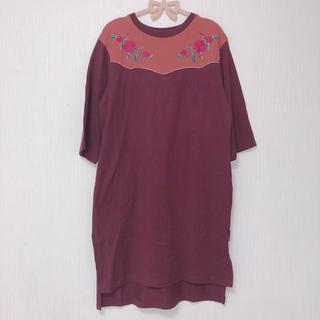 w closet - ♡美品♡w closet/ウエスタン刺繍ミニ裏毛ワンピース brown