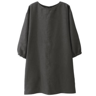 ムジルシリョウヒン(MUJI (無印良品))の無印良品  麻平織 割烹着 墨黒(収納/キッチン雑貨)