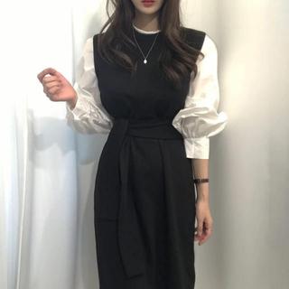 snidel - パフスリーブロングシャツドレス