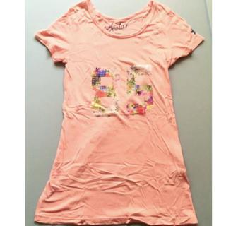 スカラー(ScoLar)のスカラー◆ロング丈Tシャツ◆ピンク◆古着◆カジュアル◆スパンコール◆個性的(Tシャツ(半袖/袖なし))