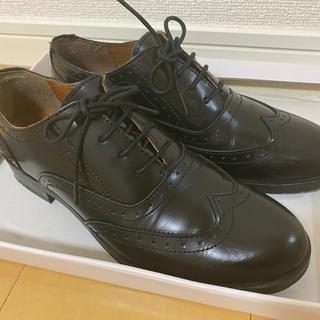 ナノユニバース(nano・universe)のレザー レースアップシューズ ブラック 35(ローファー/革靴)