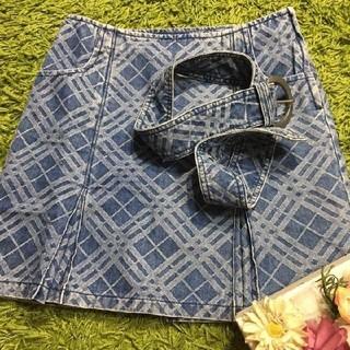 BURBERRY BLUE LABEL - burberryバーバリーブルーレーベル ベルト付きデニムスカート