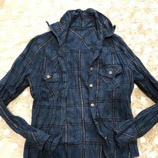 ハニーズ(HONEYS)のハニーズ HONEYS チェックシャツ ラメ グリーン系 M(シャツ/ブラウス(長袖/七分))