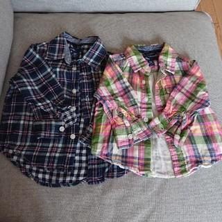 ベビーギャップ(babyGAP)のbabygap チェックシャツ 2枚セット 80 90(Tシャツ/カットソー)