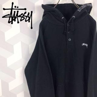 【Stussy】刺繍フードロゴ サイズM ブラック スウェットパーカー