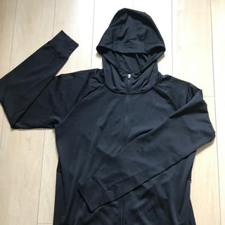 ムジルシリョウヒン(MUJI (無印良品))のMUJI フード付き薄手パーカー(黒)L(パーカー)