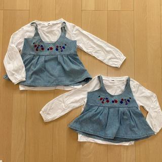 ロデオクラウンズ(RODEO CROWNS)のロデオクラウンズ  キッズ デニムキャミ ロンT セット 刺繍入 s m(Tシャツ/カットソー)