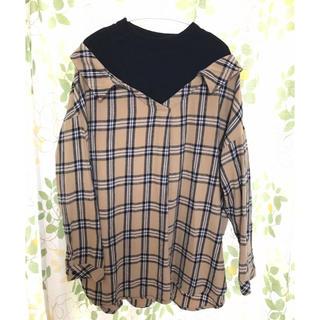 チェックシャツ ブラウス ロンT  ハイネック 大きいサイズ オーバーサイズ
