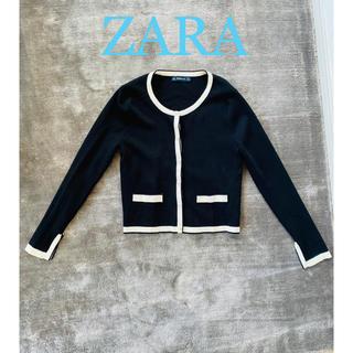 ザラ(ZARA)のZARA パールボタン ブラック&ホワイトカーディガン(カーディガン)