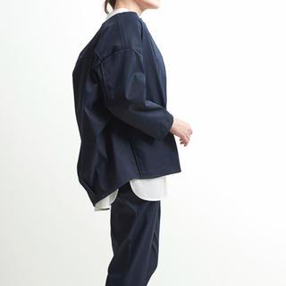 yori ノーカラーコクーンジャケット ネイビー 36  ヨリ 新品未使用タグ付