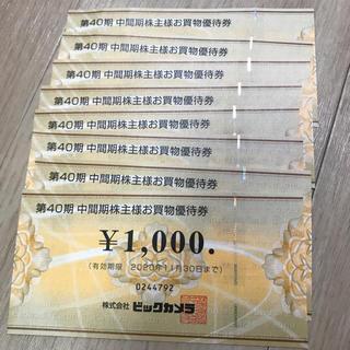 ビックカメラ株主優待券8千円分