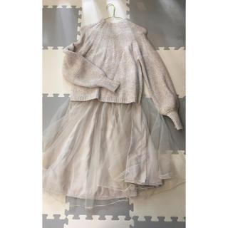 クチュールブローチ(Couture Brooch)の全色揃えたい♪ チュール フレアスカート   ライトベージュ(ひざ丈スカート)