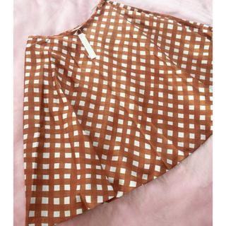 アナイ(ANAYI)のANAYI チェック柄フレアスカート ブラウン (ひざ丈スカート)
