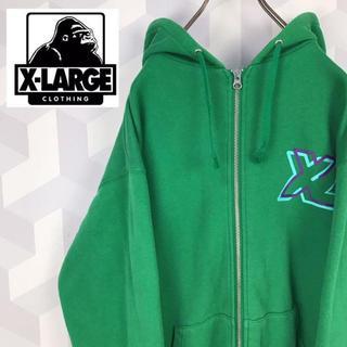 エクストララージ(XLARGE)の【X-LARGE】地厚目 サイズM グリーン ジップアップ スウェットパーカー(パーカー)