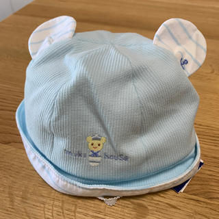 mikihouse - SALE**ミキハウス ベビー帽子 くま耳 ブルー 46 新品