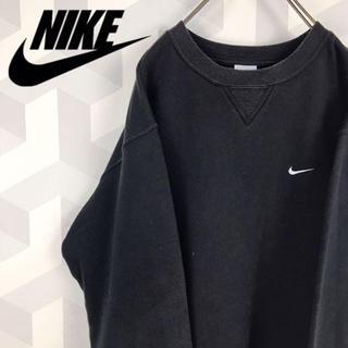 NIKE - 【NIKE】希少デザイン M 刺繍ロゴ スウェットシャツ トレーナー ブラック