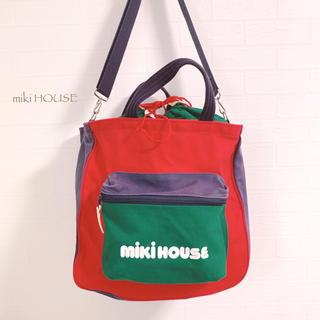 ミキハウス(mikihouse)の【miki HOUSE】マルチカラー キャンバス地 バッグ 大きめ 昭和 レトロ(ショルダーバッグ)