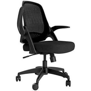 ブラックHbada 椅子 オフィスチェア デスクチェア イス 跳ね上げ式アームレ(オフィスチェア)
