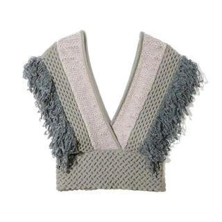 LEINWANDE patchwork fringe top