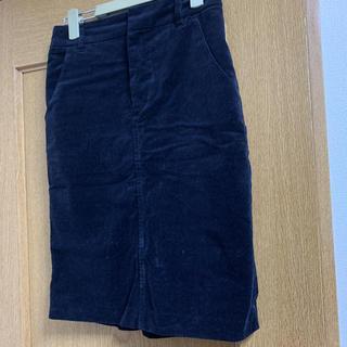 ケービーエフ(KBF)のコーデュロイスカート KBF ネイビー(ひざ丈スカート)