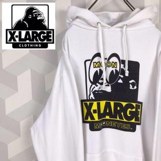 エクストララージ(XLARGE)の【X-LARGE】希少 L Mooneyesコラボ スウェットパーカー 白(パーカー)