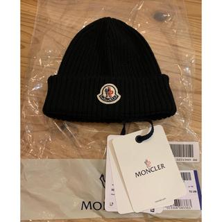 モンクレール(MONCLER)のMoncler モンクレール ロゴ ビーニー ニット帽 ユニセックス ブラック(ニット帽/ビーニー)